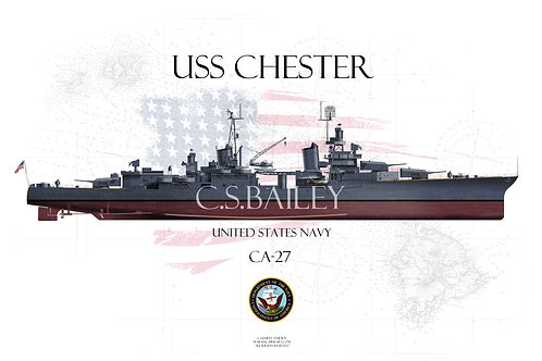 USS Chester CA-27 FH T-shirt
