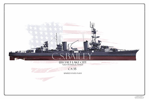 USS Salt Lake City CA-25 MS21 FH Print