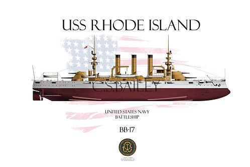 USS Rhode Island BB-17 FH T-shirt
