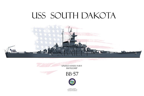 USS South Dakota BB-57 WL t/s