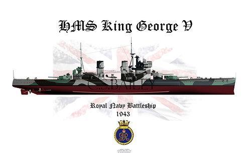HMS King George V 1943 F/H t-shirt