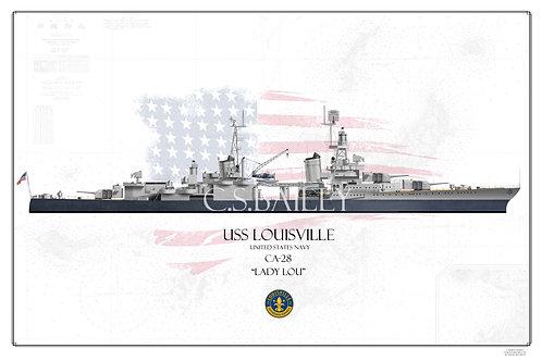 USS Louisville CA-28 MS-22 WL Print