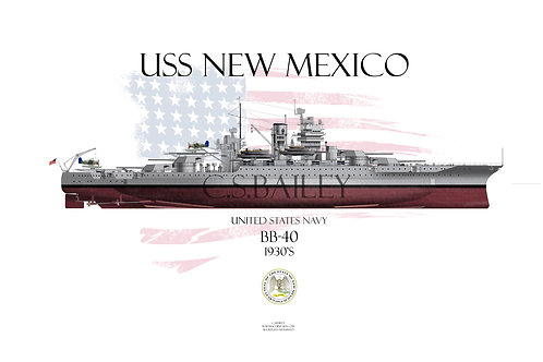 USS New Mexico BB-40 1930's FH T-shirt