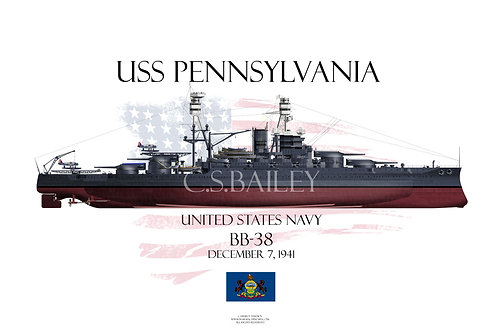 USS Pennsylvania BB-38 1941 FH T-shirt