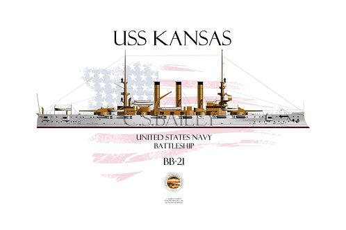 USS Kansas BB-21 WL T-shirt