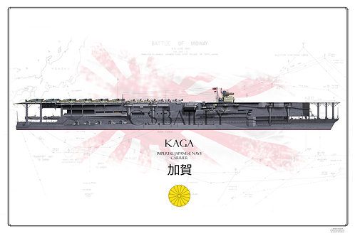 IJN Kaga Battle of Midway WL Print