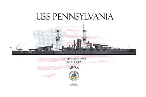 USS Pennsylvania BB-38 1918 WL T-shirt