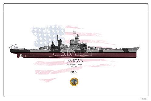 USS Iowa BB-61 Dazzle FH Print