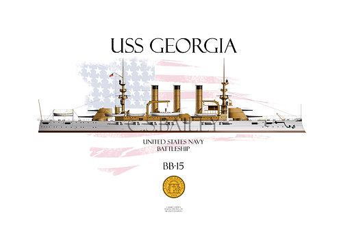 USS Georgia BB-15 WL T-shirt