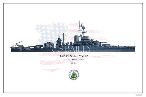 USS Pennslyvania 1944 WL Print