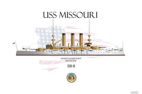 USS Missouri BB-11 WL T-shirt