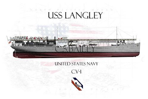 USS Langley CV-1 FH t-shirt