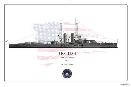 USS Utah BB-31 1920s WL print