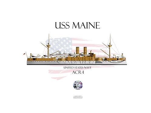 USS Maine1898 WL T-shirt