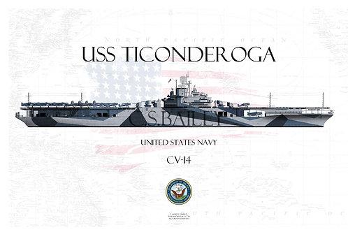 USS Ticonderoga CV-14 WL t-shirt