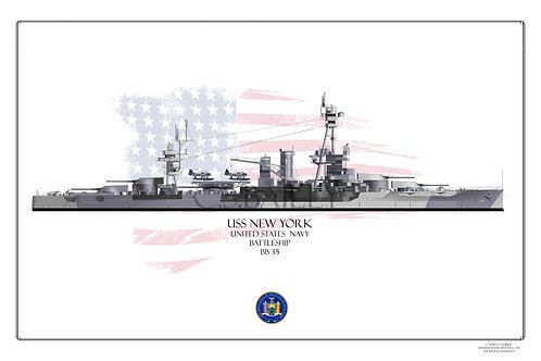 USS New York BB 34 Dazzle WL Print