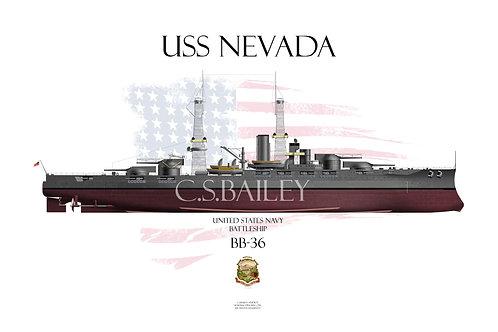 USS Nevada BB-36 FH 1918 T-shirt