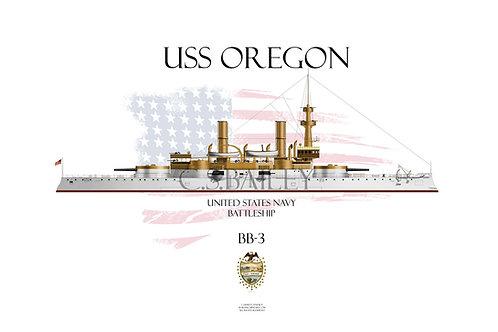 USS Oregon BB-3 WL T-shirt