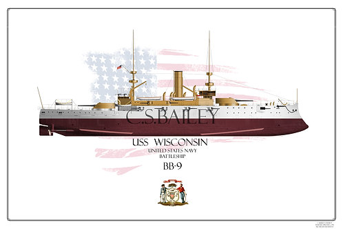 USS Wisconsin BB-9 FH Print