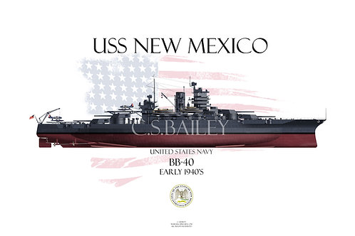 USS New Mexico BB-40 1941 FH T-shirt