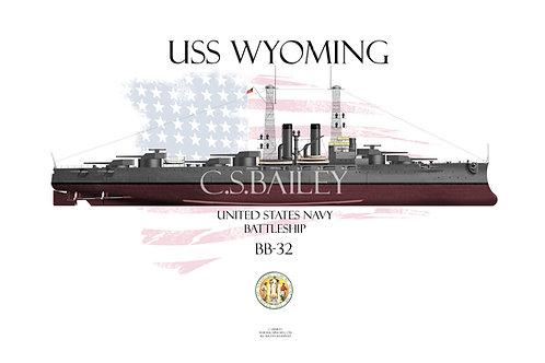 USS Wyoming BB-32 FH T-shir