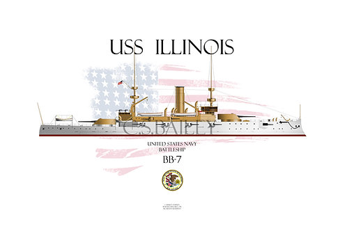 USS Illinois BB-7 WL T-shirt