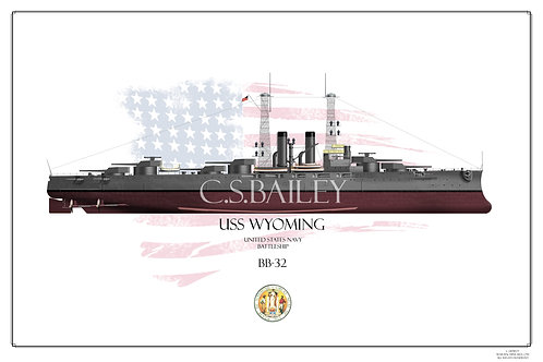 USS Wyoming BB-32 FH Print