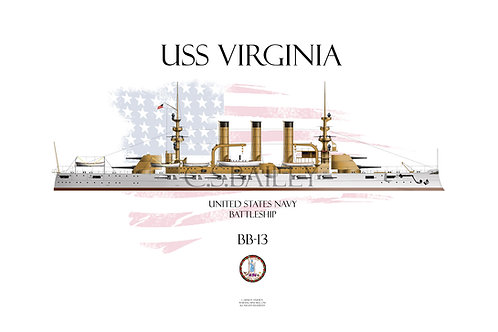 USS Virginia BB-13 WL T-shirt