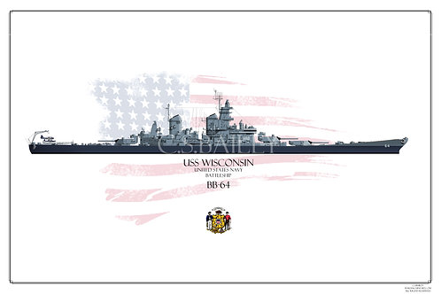 USS Wisconsin BB-64 MS21 WL print