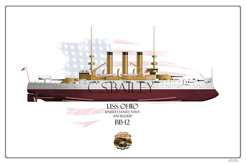 USS Ohio BB-12 FH Print