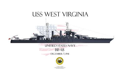 USS West Virginia BB-48 1941 T-shirt