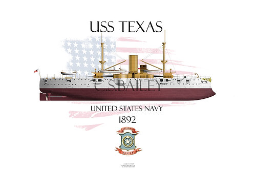 USS Texas 1895 FH T-shirt