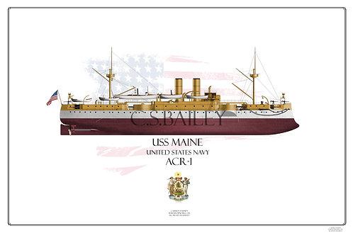 USS Maine FH print
