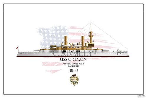 USS Oregon BB-3 WL Print