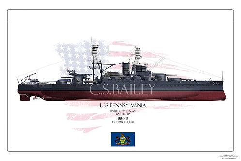 USS Pennslyvania 1941 FH Print