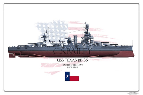 USS Texas MS 21 FH BB-35 Print