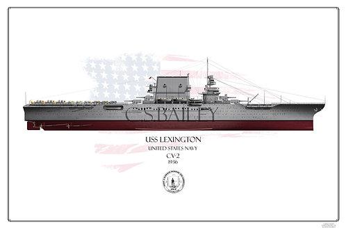 USS Lexington CV-2 FH 1936 Print