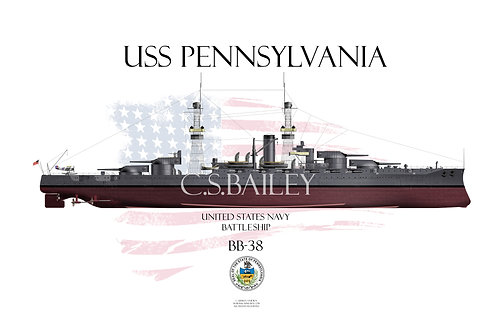 USS Pennsylvania BB-38 1918 FH T-shirt