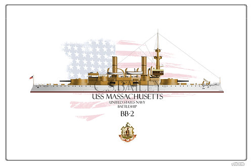 USS Massachusetts BB-2 WL Print