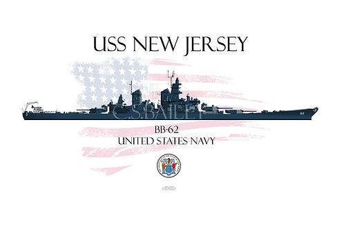 USS New Jersey BB-62  MS 21 WL T-shirt