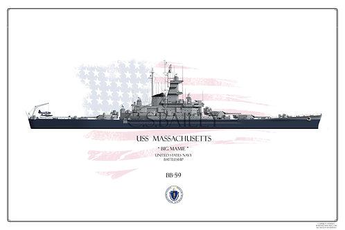 USS Massachusetts BB-59 WL Print