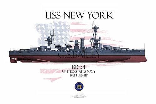 USS New York BB-34 MS21 FH T-shirt