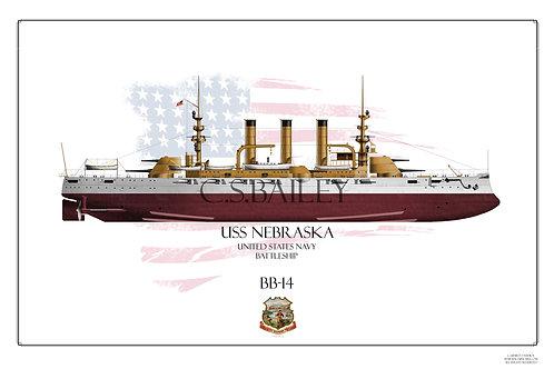 USS Nebraska BB-14 FH Print