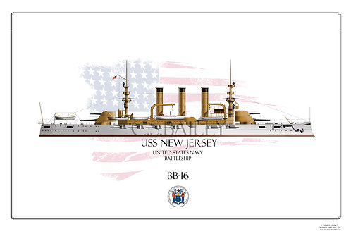 USS New Jersey BB-16 WL Print