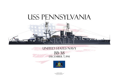 USS Pennslyvania 1941 WL Print