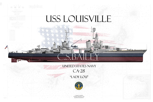 USS Louisville CA-28  MS-22 FH T-shirt