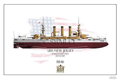 USS New Jersey BB-16 FH Print