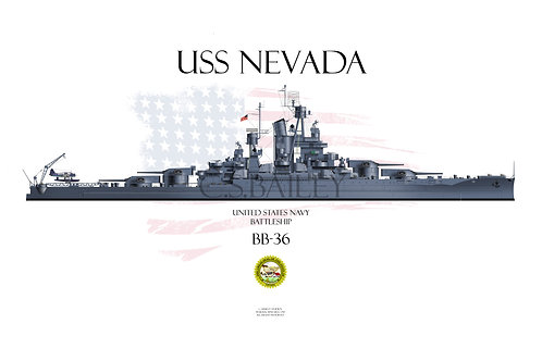 USS Nevada BB-36 MS21 WL 1944 t/s