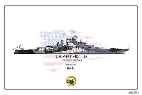 USS West Virginia 1944 BB-48 WL Print