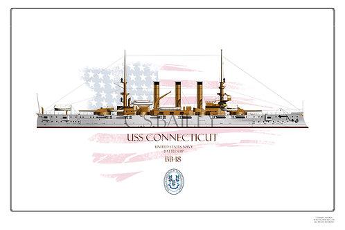USS Connecticut BB-18 WL Print